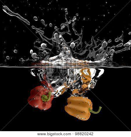 Bell pepper water splash