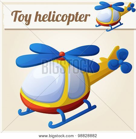 Toy helicopter. Cartoon vector illustration. Series of children's toys