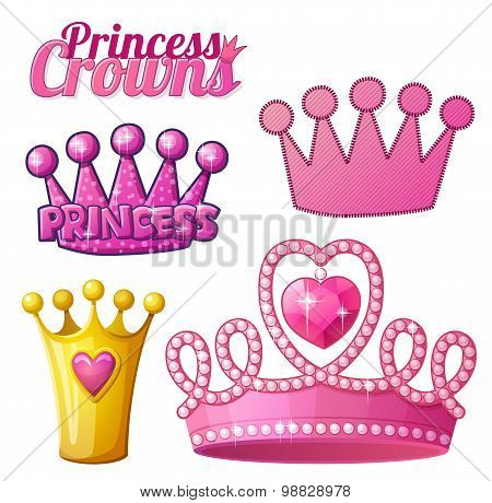 Set  of princess crowns isolated on white. Vector illustration.