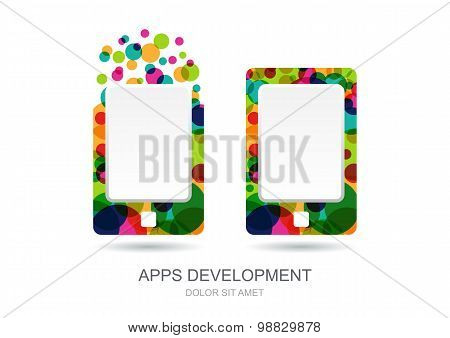 Vector Mobile Or Tablet Pc Icon Built From Colorful Circles. Abstract Logo Template. Concept For Mob