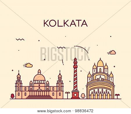 Kolkata skyline detailed silhouette Trendy vector illustration linear style poster