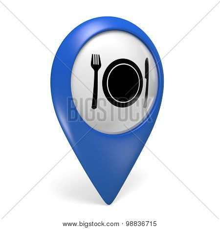 Blue map pointer 3D icon with a food plate symbol for restaurants