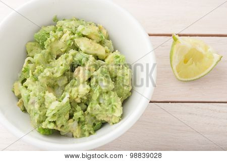 fresh guacamole - chopped avocado with onion, cilantro and lime juice, salt and pepper