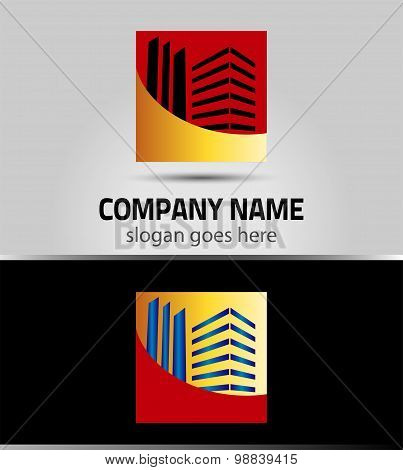 Abstract square icon real estate logo