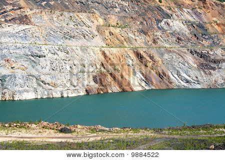 Lifeless pond in the opencast mine