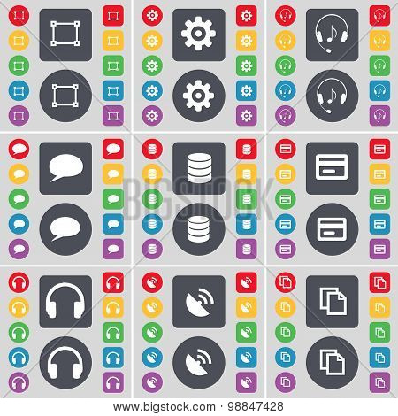 Framing, Gear, Headphones, Chat Bubble, Database, Credit Card, Sattelite Dish, Copy Icon Symbol. A L