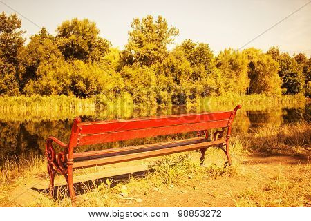 Bench near the river - surreal gold