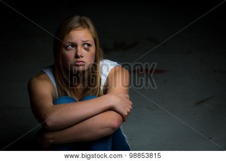 Scared blonde teen
