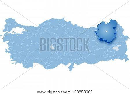 Map Of Turkey, Erzurum