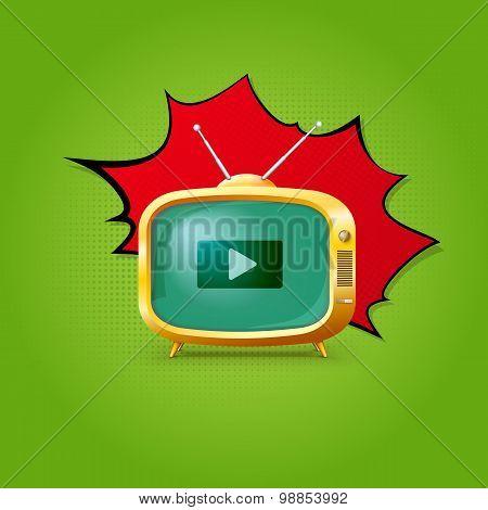 TV on pop-art background.