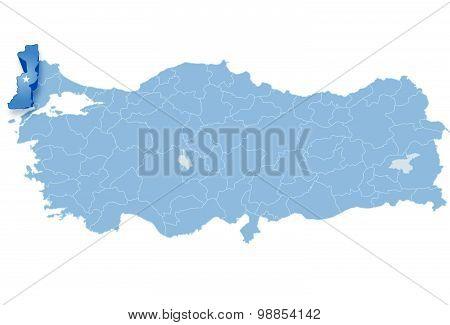 Map Of Turkey, Edirne