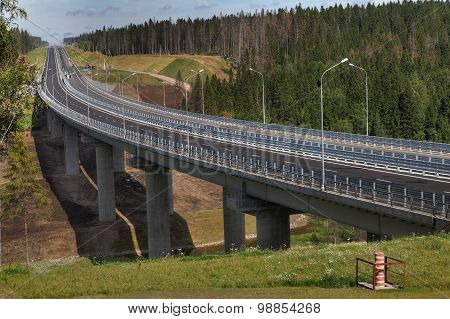 Forest Road And Unfinished Bridge In The Leningrad Region, Priozersk District.