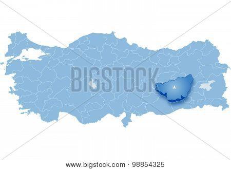 Map Of Turkey, Diyarbakir