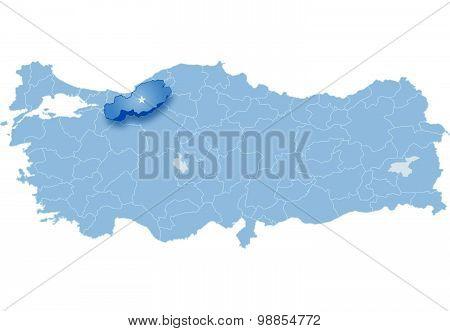Map Of Turkey, Bolu