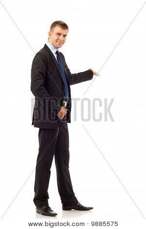 Happy Business Man Presenting