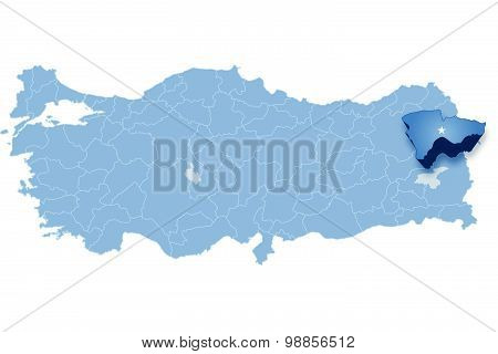 Map Of Turkey, Agri