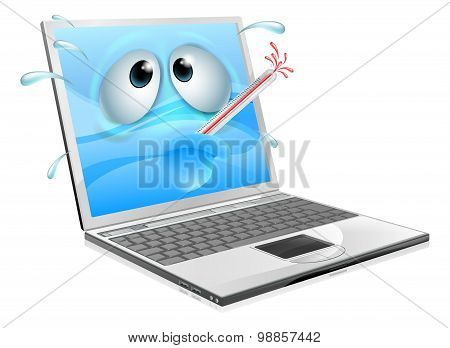 Unwell Laptop Computer Virus Cartoon