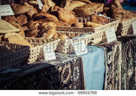 Traditional Cake At The Street Market In Poland.