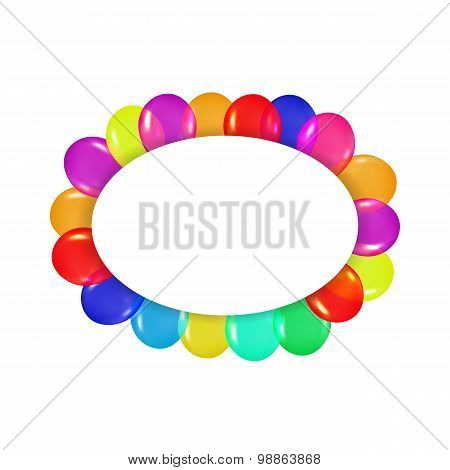 oval frame of colorful balloons in the style of realism. to design cards, birthdays, weddings, fiest