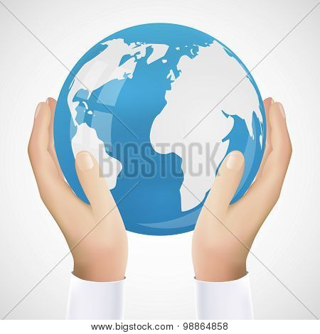 Realistic Hand Holding Earth Vector Illustration