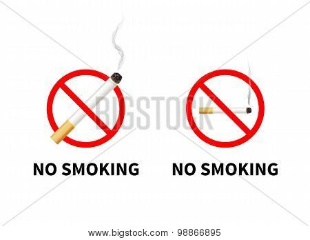 No smoking forbidden signs with realistic cigarette, isolated on white.