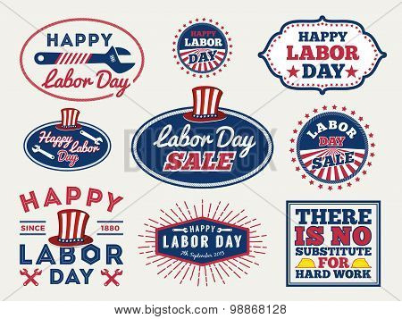 Sets Of Labor Day Badge And Labels Design. For Sale Promotion, Party Decoration