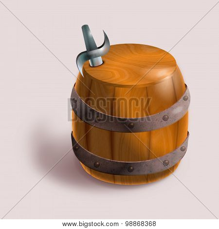 Wood Barrel With A Sword Of The Corsair