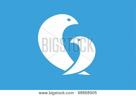 Two birds logo icon template. Mother and child concept