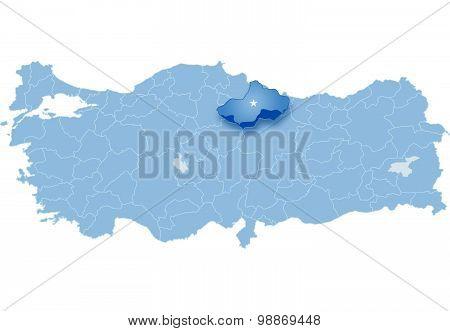 Map Of Turkey, Tokat
