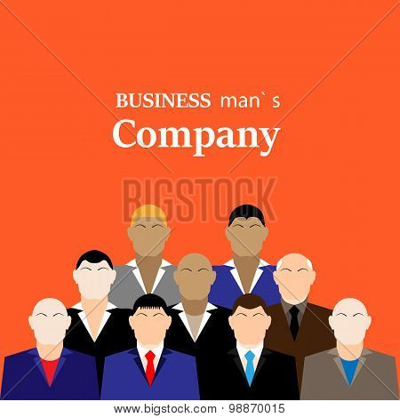 Daily standup meeting with project team and manager. Flat illustration. businessman company