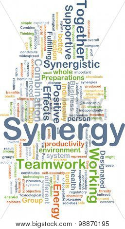 Background concept wordcloud illustration of synergy