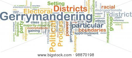 Background concept wordcloud illustration of gerrymandering