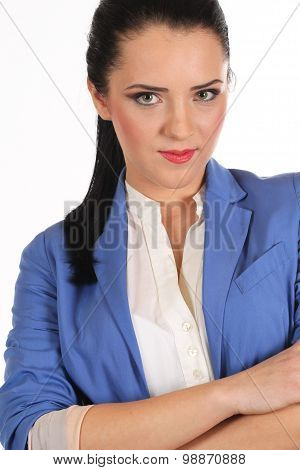 Beautiful Flight Attendant Smiling - Isolated Over A White Background