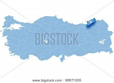 Map Of Turkey, Rize