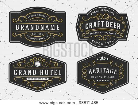 Flourish calligraphy frame design for labels, banner, logo, emblem, menu, sticker and other design