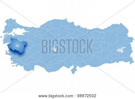 Map Of Turkey, Manisa