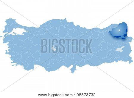 Map Of Turkey, Kars