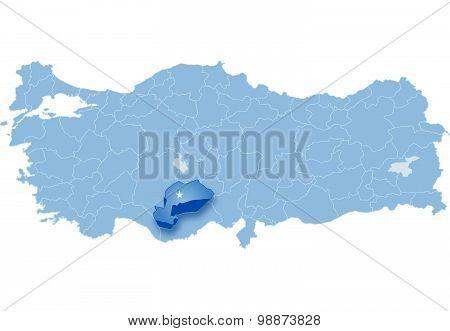 Map Of Turkey, Karaman