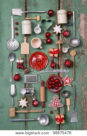 Country style or wooden vintage Christmas background for kitchen and menu decoration.