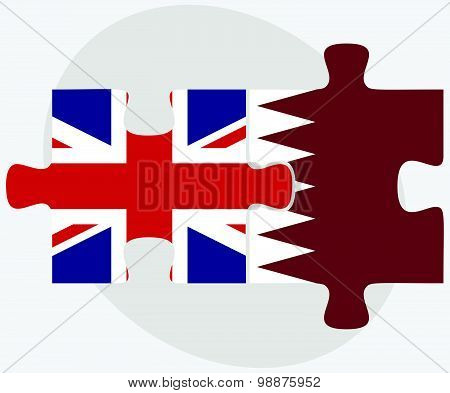 United Kingdom and Qatar Flags in puzzle isolated on white background. poster