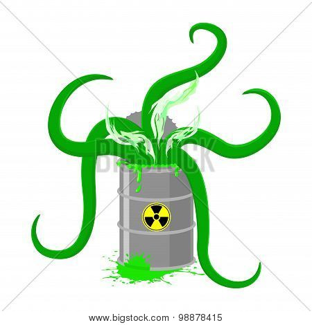 Barrel Of Toxic Waste And Green Tentacles. Vector Illustration Of A Biohazard Container. Gray Radioa