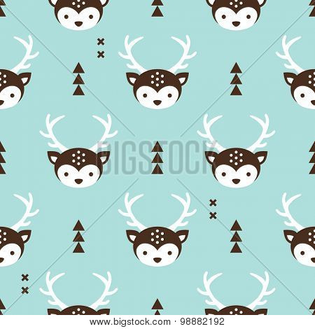 Seamless baby geometric reindeer illustration cute winter kids christmas theme wrapping paper design background pattern in vector