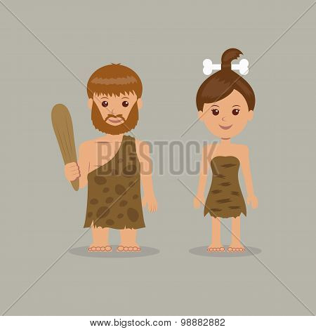 Cavemen. The characters of men and women in prehistoric outfits. poster