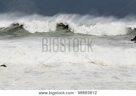 Stormy sea with big waves during Typhoon Souledor poster