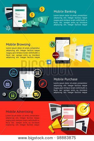 M-commerce Or Mobile Phone Business Infographic Banners About Mobile Banking, Internet Browsing, Onl