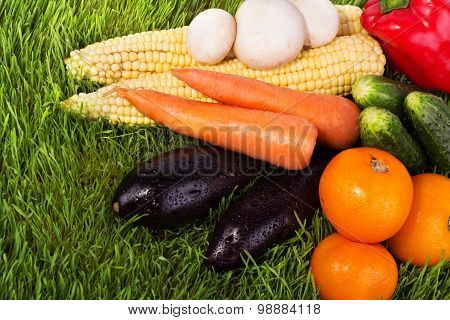 Juicy Vegetables On Green Grass