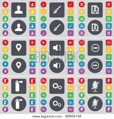 Avatar, Brush, Zip Card, Checkpoint, Sound, Minus, Fire Extinguisher, Gear, Microphone Icon Symbol.
