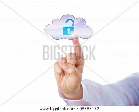 Index Finger Unlocking A Virtual Lock Via Cloud