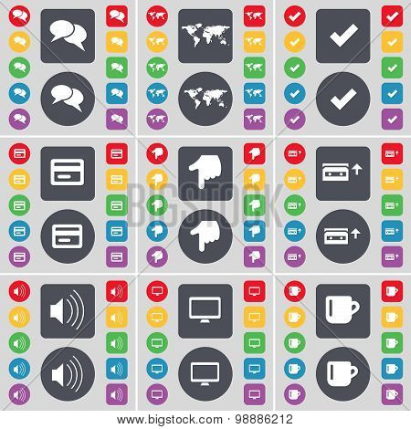 Chat Bubble, Globe, Tick, Credit Card, Hand, Cassette, Sound, Monitor, Cup Icon Symbol. A Large Set
