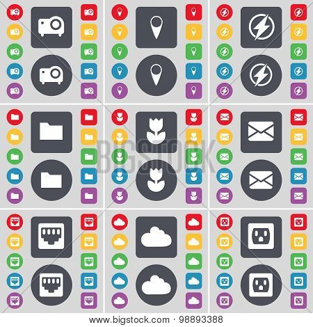 Projector, Checkpoint, Flash, Folder, Flower, Message, Lan Socket, Cloud, Socket Icon Symbol. A Larg